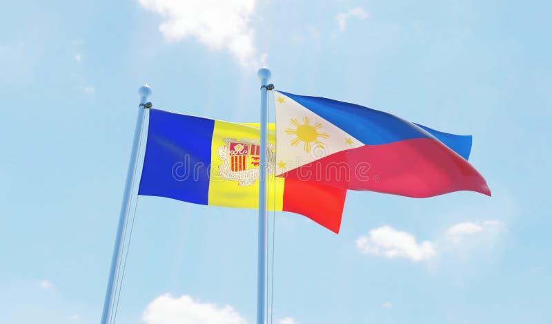 Δύο κυματίζοντας σημαίες διανυσματική απεικόνιση