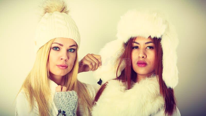 Δύο κυρίες στη χειμερινή άσπρη εξάρτηση στοκ εικόνα