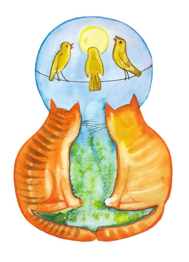 Δύο κόκκινες γάτες εξετάζουν τα πουλιά διανυσματική απεικόνιση