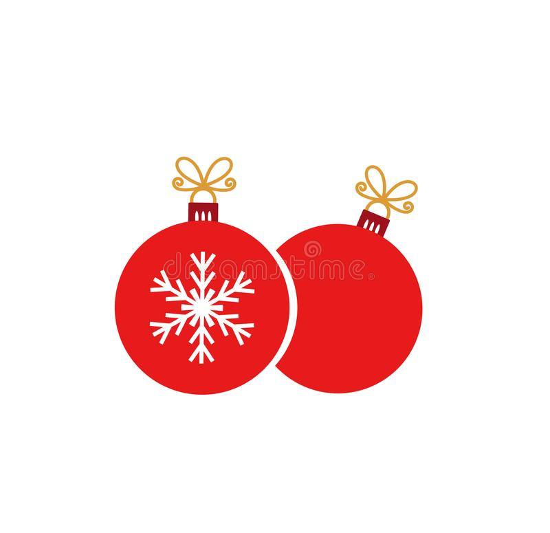 Δύο κόκκινες διακοσμήσεις σφαιρών Χριστουγέννων στο άσπρο υπόβαθρο ελεύθερη απεικόνιση δικαιώματος