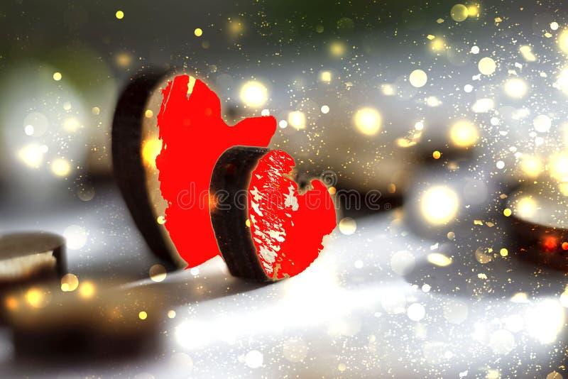 Δύο κόκκινες καρδιές με τα χρυσά σπινθηρίσματα, ρομαντική εικόνα βαλεντίνος ημέρας s στοκ εικόνες