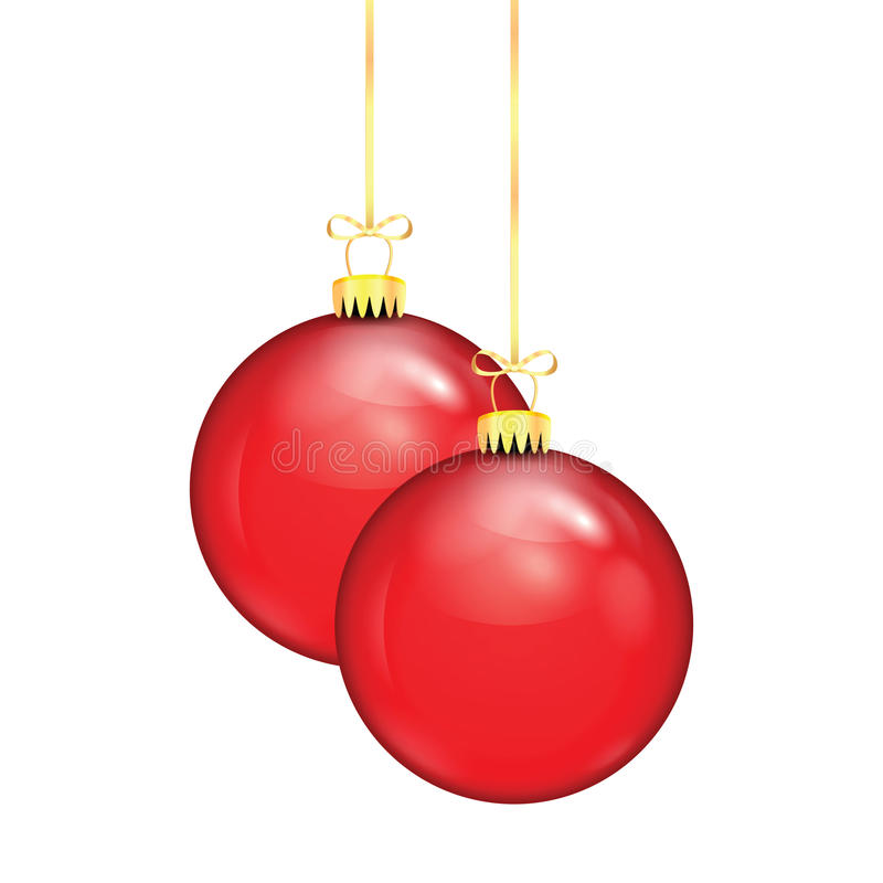Δύο κόκκινες σφαίρες Χριστουγέννων σε μια χρυσή κορδέλλα ελεύθερη απεικόνιση δικαιώματος