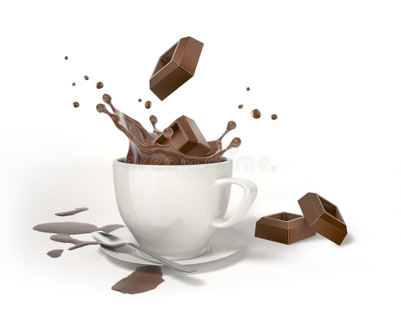 Δύο κύβοι σοκολάτας που καταβρέχουν στο άσπρο φλυτζάνι με τον παφλασμό διανυσματική απεικόνιση
