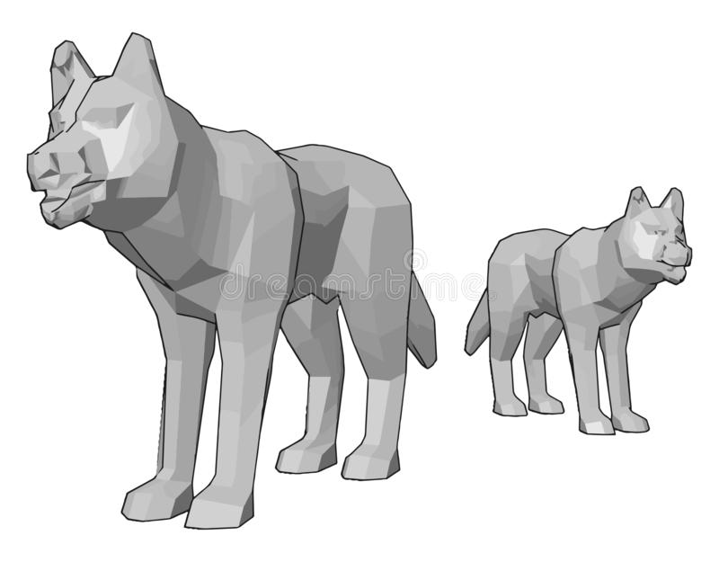 Δύο λευκά χρωματιστά σκυλιά παιχνίδι με διανυσματικό περίγραμμα ή απεικόνιση χρώματος απεικόνιση αποθεμάτων