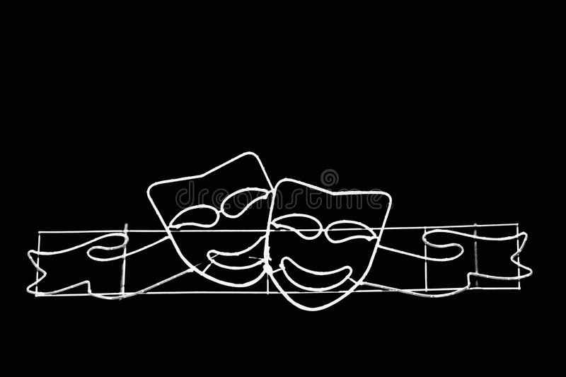 Δύο μάσκες χαμόγελου γραπτές στοκ εικόνες