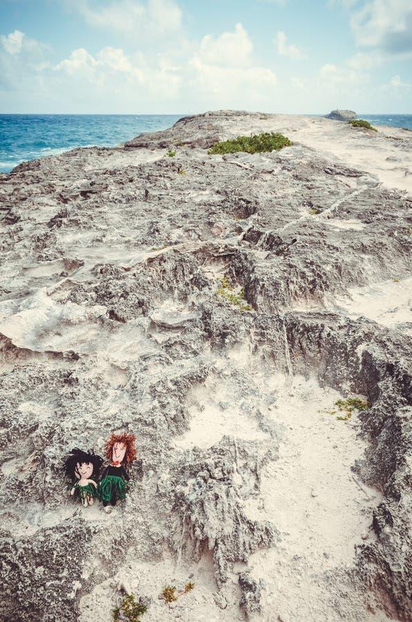 Δύο μαριονέτες λίγου μαλλιού που στέκονται σε ένα δύσκολο ακρωτήριο στη Χαβάη, ΗΠΑ στοκ εικόνες