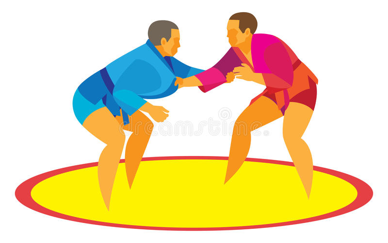 Δύο μαχητές μιγάδων αρχίζουν μια μονομαχία στον τάπητα διανυσματική απεικόνιση