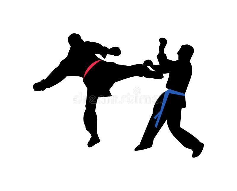 Δύο μαχητές karateka σε μια αντιστοιχία απεικόνιση αποθεμάτων