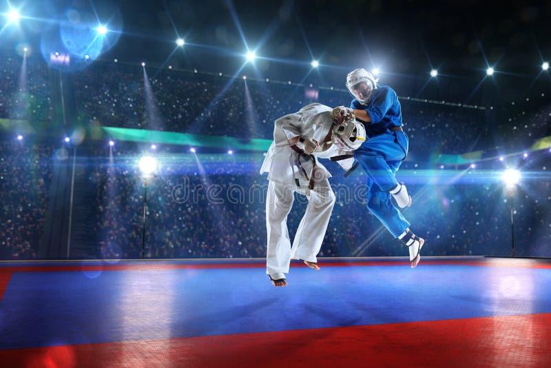 Δύο μαχητές kudo παλεύουν στο μεγάλο χώρο στοκ εικόνες με δικαίωμα ελεύθερης χρήσης