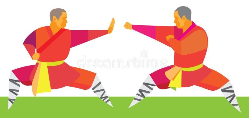 Δύο μαχητές kung fu αρχίζουν μια μονομαχία απεικόνιση αποθεμάτων