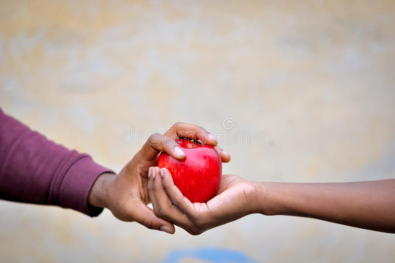 Δύο μαύρα χέρια που κρατούν ένα κόκκινο μήλο στοκ φωτογραφίες