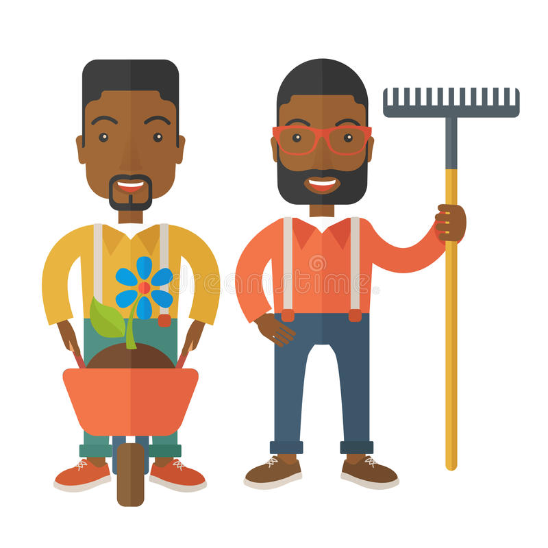 Δύο μαύροι με wheelbarrow και την τσουγκράνα διανυσματική απεικόνιση