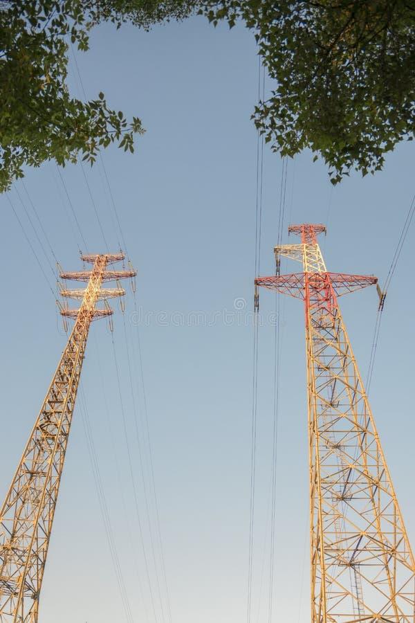 Δύο μεγάλοι ορθογώνιοι υψηλής τάσεως ηλεκτρικοί πύργοι μετάδοσης με τα ηλεκτροφόρα καλώδια και μονωτές επάνω από τα δέντρα κάτω α στοκ εικόνες