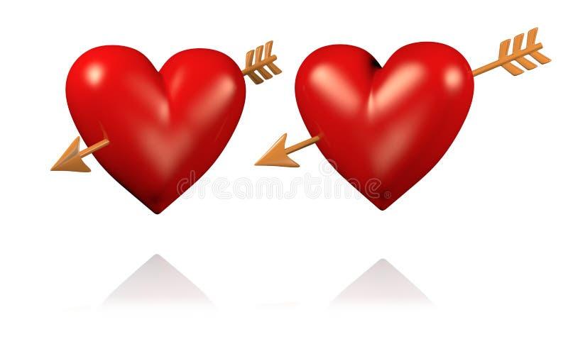 Δύο μεγάλες και κόκκινες καρδιές με τα χρυσά βέλη ελεύθερη απεικόνιση δικαιώματος