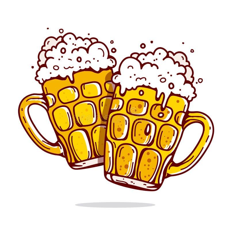Δύο μεγάλες κούπες της μπύρας ελεύθερη απεικόνιση δικαιώματος