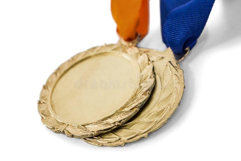 Δύο μετάλλια ολυμπιακού χρυσού στοκ εικόνες