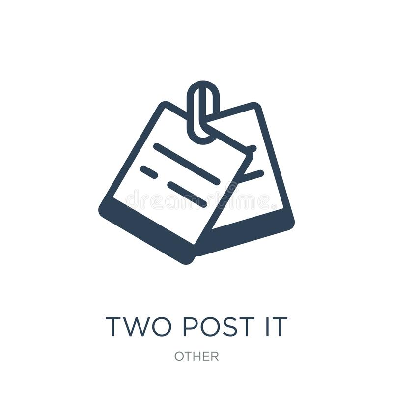 δύο μετα αυτό εικονίδιο στο καθιερώνον τη μόδα ύφος σχεδίου δύο μετα αυτό εικονίδιο που απομονώνεται στο άσπρο υπόβαθρο δύο μετα  διανυσματική απεικόνιση