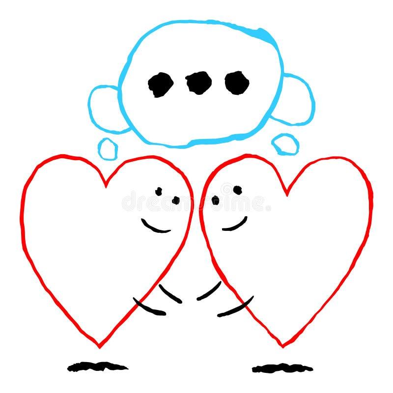 Δύο μόνες κόκκινες καρδιές συνερχόμενες Αστεία ευχετήρια κάρτα για τη γιορτή διακοπών της ημέρας βαλεντίνων Αγίου Το σχέδιο σκίτσ απεικόνιση αποθεμάτων
