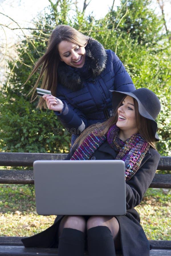 Δύο νέα όμορφα κορίτσια στο πάρκο που χρησιμοποιεί το lap-top στοκ φωτογραφία