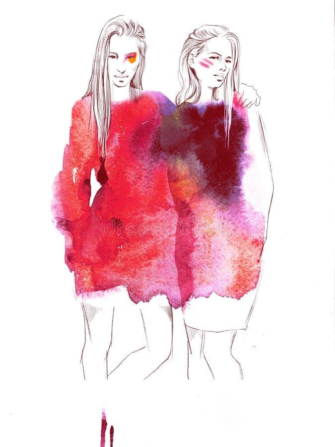 Δύο νέα όμορφα κορίτσια σύρουν την απεικόνιση μόδας πορτρέτων στοκ εικόνα με δικαίωμα ελεύθερης χρήσης