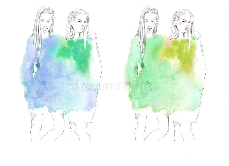 Δύο νέα όμορφα κορίτσια σύρουν την απεικόνιση μόδας πορτρέτων στοκ φωτογραφίες