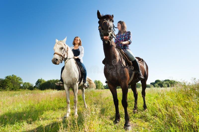 Δύο νέες γυναίκες που οδηγούν τα όμορφα άλογά τους στοκ εικόνες