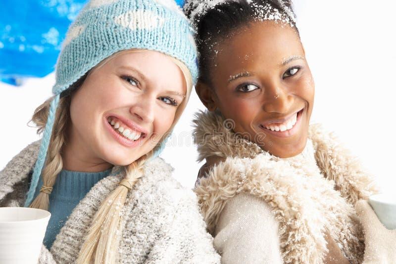 Δύο νέες γυναίκες που φορούν τα χειμερινά ενδύματα στο στούντιο στοκ εικόνες με δικαίωμα ελεύθερης χρήσης
