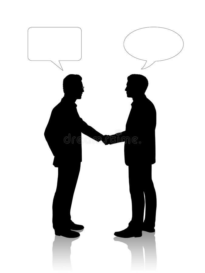 Δύο νέοι επιχειρηματίες που τινάζουν τα χέρια τους διανυσματική απεικόνιση