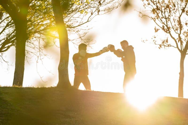 Δύο νεαροί άνδρες που εγκιβωτίζουν υπαίθρια στοκ φωτογραφίες με δικαίωμα ελεύθερης χρήσης