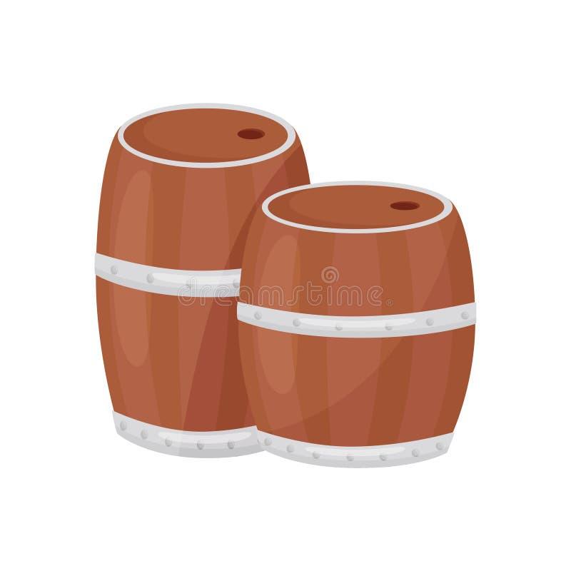 Δύο ξύλινα βαρέλια για την καλλιέργεια και την οινοποίηση Κυλινδρικά εμπορευματοκιβώτια Διανυσματικό σχέδιο κινούμενων σχεδίων ελεύθερη απεικόνιση δικαιώματος