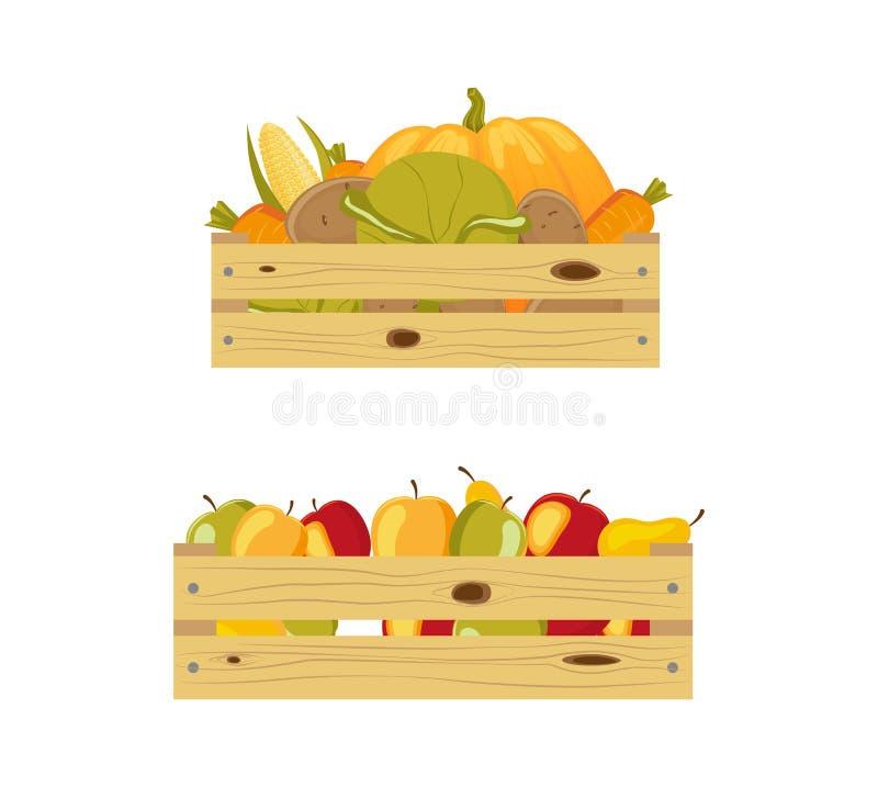 Δύο ξύλινα κιβώτια που συσκευάζονται με τα μήλα και τα λαχανικά ελεύθερη απεικόνιση δικαιώματος