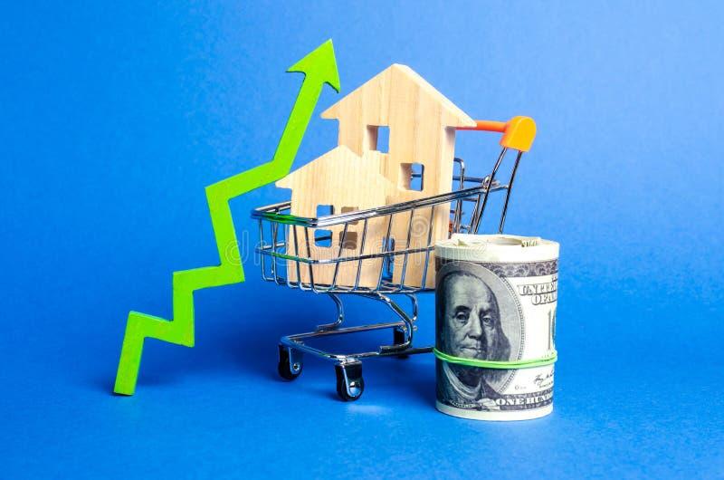 Δύο ξύλινα σπίτια σε ένα κάρρο εμπορικών συναλλαγών και ένα πράσινο βέλος επάνω και τη δέσμη χρημάτων Αυξανόμενες κόστος και ρευσ στοκ εικόνα