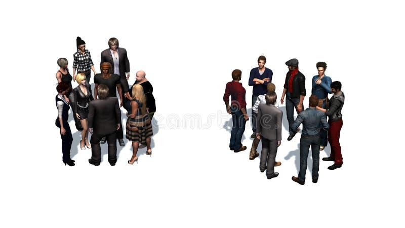 Δύο ομάδες ανθρώπων στο άσπρο υπόβαθρο απεικόνιση αποθεμάτων