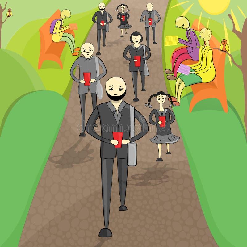 Δύο ομάδα ανθρώπων στο πάρκο διανυσματική απεικόνιση