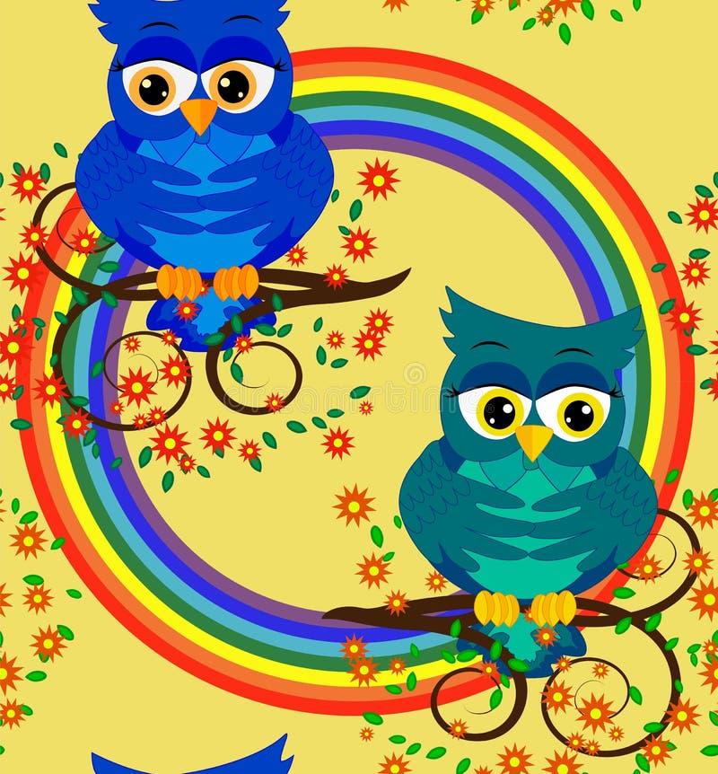 Δύο ομοφυλόφιλοι κουκουβαγιών ερωτευμένοι ελεύθερη απεικόνιση δικαιώματος