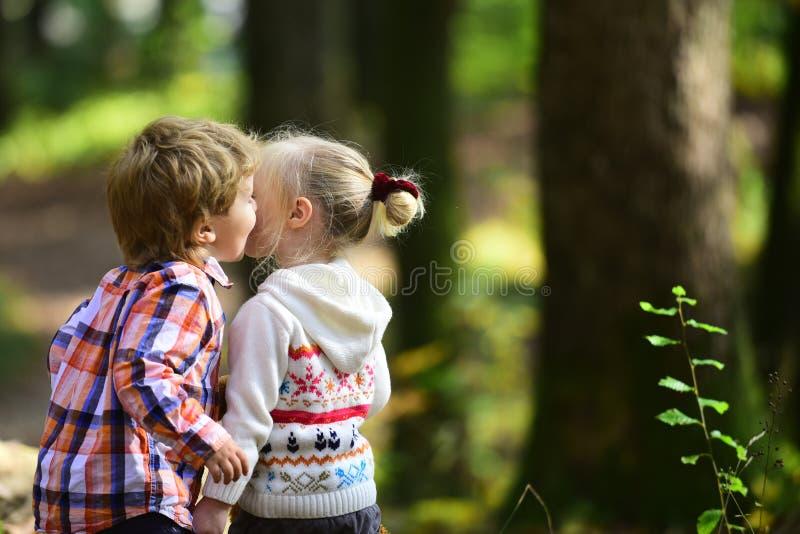 Δύο παιδάκια που χρονολογούν στο πάρκο φθινοπώρου στοκ εικόνες