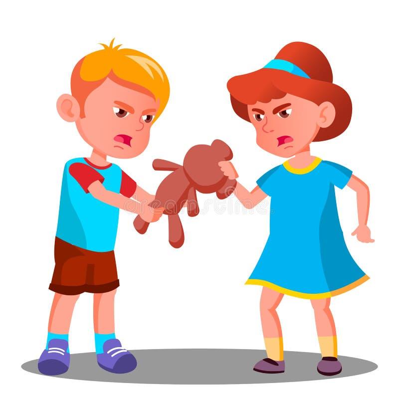 Δύο παιδιά μαλώνουν πέρα από ένα διάνυσμα παιχνιδιών απομονωμένη ωθώντας s κουμπιών γυναίκα έναρξης χεριών απεικόνιση απεικόνιση αποθεμάτων