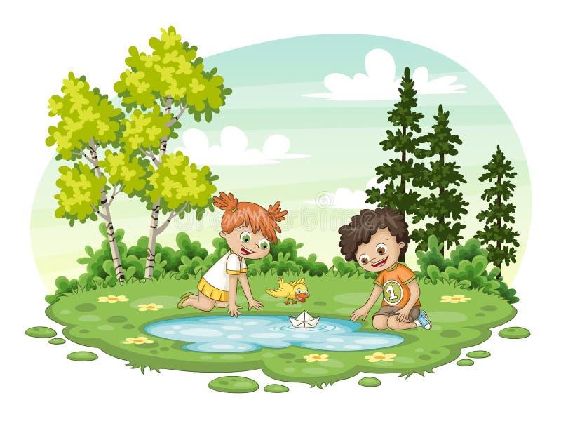 Δύο παιδιά παίζουν με μια βάρκα από τη λίμνη Al ελεύθερη απεικόνιση δικαιώματος