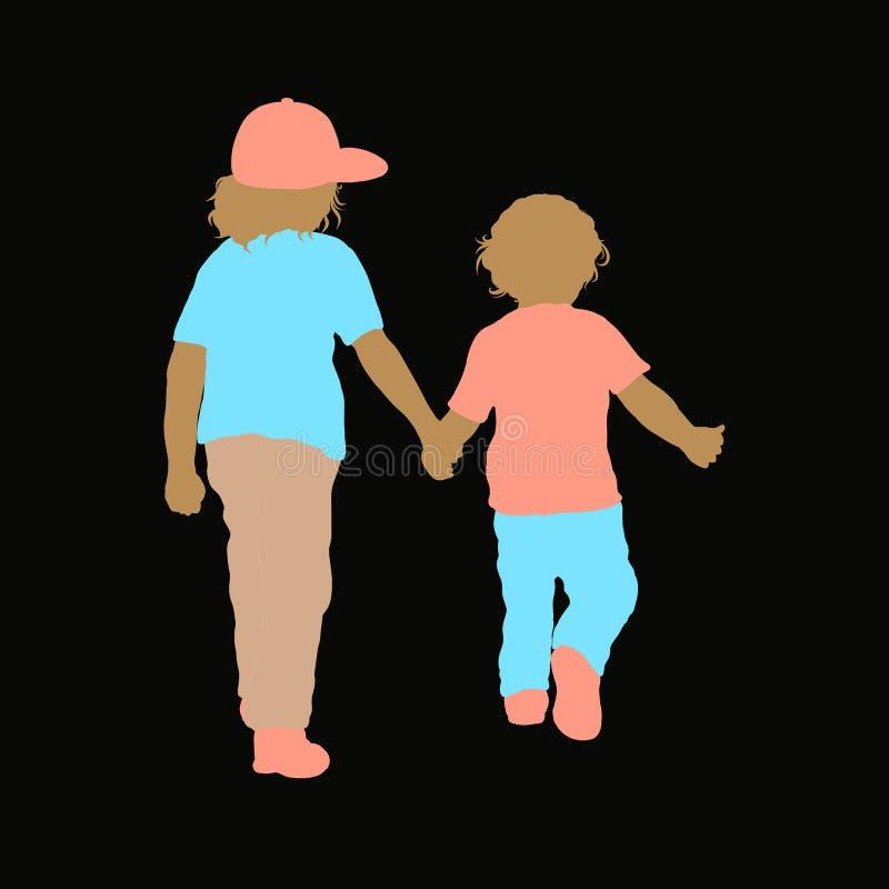 Δύο παιδιά που περπατούν μαζί σε ένα μαύρο υπόβαθρο, σκιαγραφία διανυσματική απεικόνιση