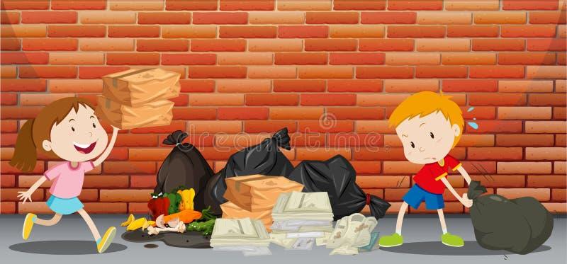 Δύο παιδιά που ρίχνουν τα απορρίμματα στην οδό απεικόνιση αποθεμάτων