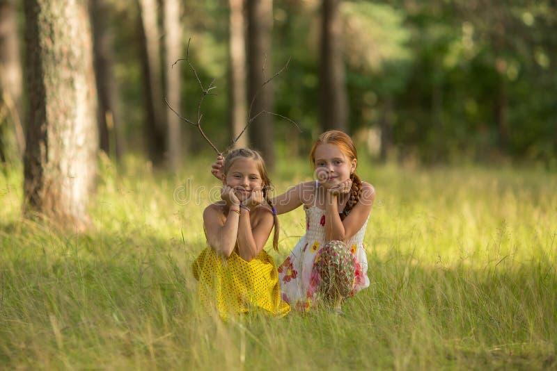 Δύο παιδιά κοριτσιών που θέτουν για τη κάμερα στοκ εικόνες
