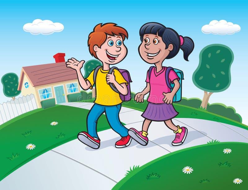 Δύο παιδιά που περπατούν στο σχολείο με τα σακίδια πλάτης ελεύθερη απεικόνιση δικαιώματος