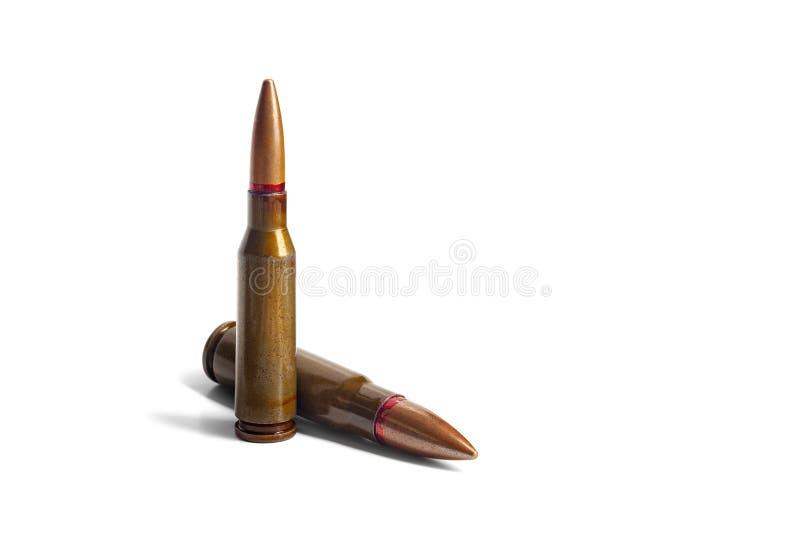 Δύο παλαιές σφαίρες για τα αυτόματα τουφέκια 5 45 και 7 caliber 62 r στοκ εικόνες με δικαίωμα ελεύθερης χρήσης
