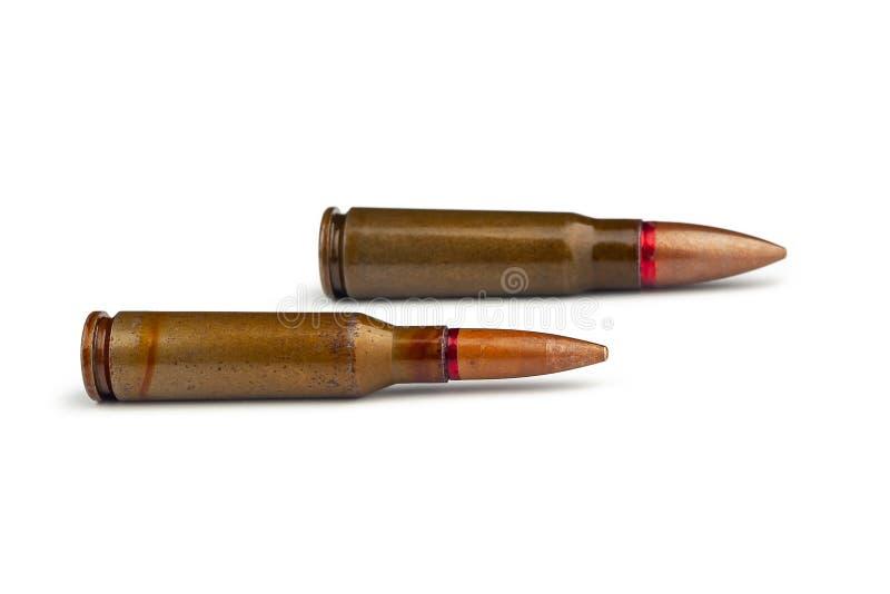 Δύο παλαιές σφαίρες για τα αυτόματα τουφέκια 5 45 και 7 caliber 62 r στοκ φωτογραφίες με δικαίωμα ελεύθερης χρήσης