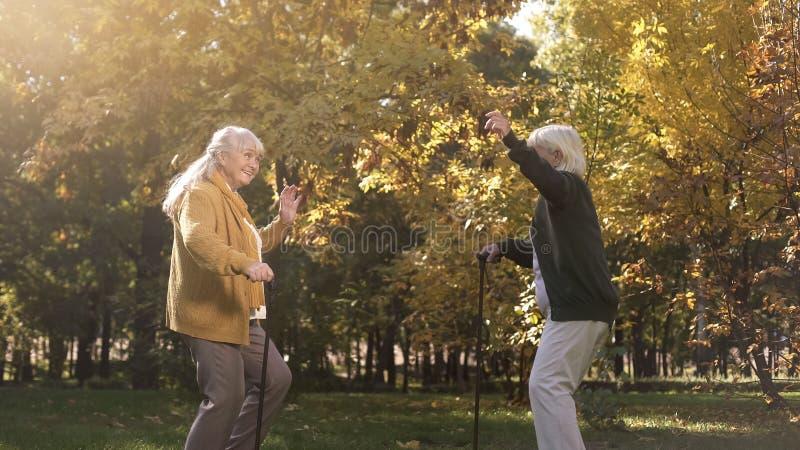 Δύο παλαιότεροι φίλοι που χορεύουν και που έχουν τη διασκέδαση στο πάρκο φθινοπώρου, ενεργός τρόπος ζωής, χαρά στοκ φωτογραφία