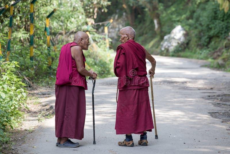 Δύο παλαιός θιβετιανός βουδιστικός μοναχός στο Dharamsala, Ινδία στοκ φωτογραφία