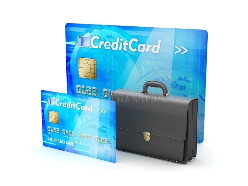 Δύο πιστωτικές κάρτες και επιχειρησιακός χαρτοφύλακας - απεικόνιση έννοιας διανυσματική απεικόνιση