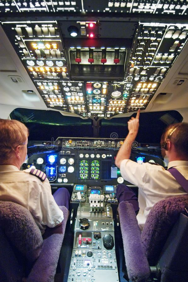 Δύο πιλότοι στο πιλοτήριο αεροπλάνων διανυσματική απεικόνιση