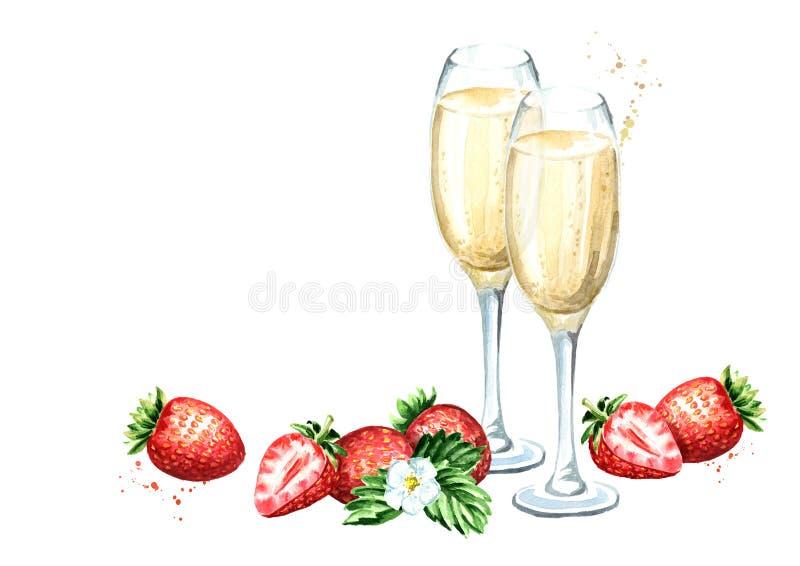 Δύο ποτήρια της σαμπάνιας και του φρέσκου προτύπου φραουλών Συρμένη χέρι απεικόνιση Watercolor που απομονώνεται στο άσπρο υπόβαθρ διανυσματική απεικόνιση