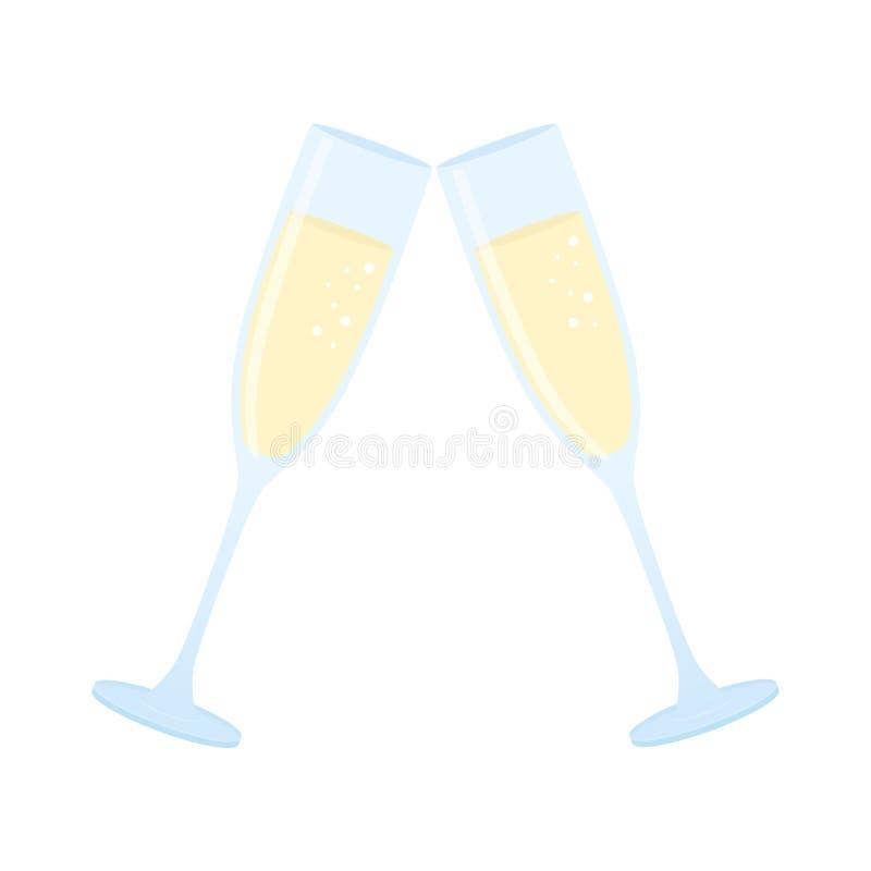 Δύο ποτήρια της σαμπάνιας ελεύθερη απεικόνιση δικαιώματος